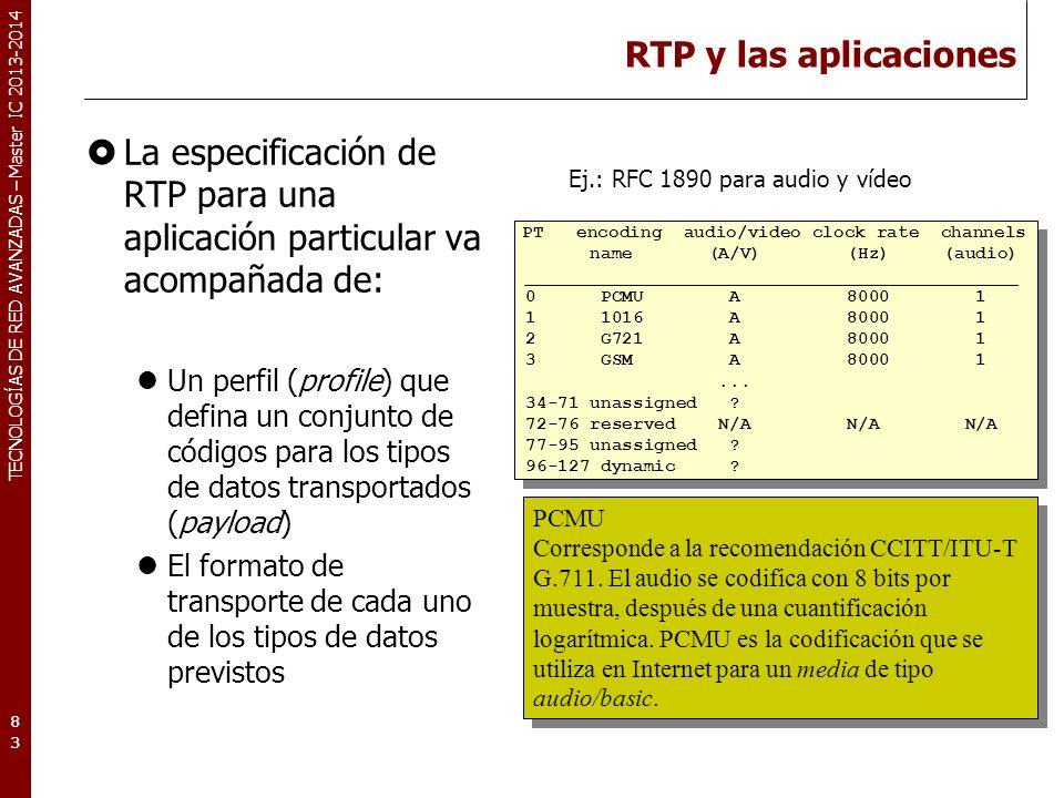 RTP y las aplicaciones La especificación de RTP para una aplicación particular va acompañada de: