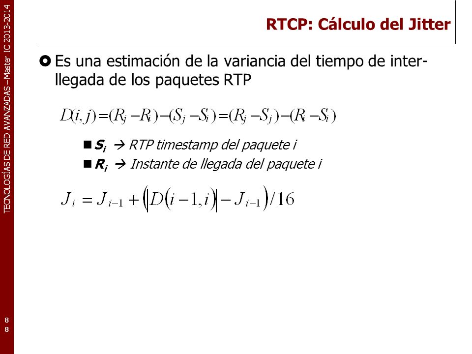 RTCP: Cálculo del Jitter