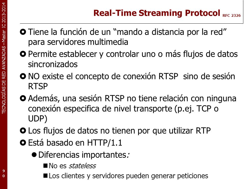 Real-Time Streaming Protocol RFC 2326
