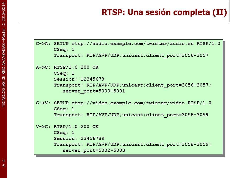 RTSP: Una sesión completa (II)