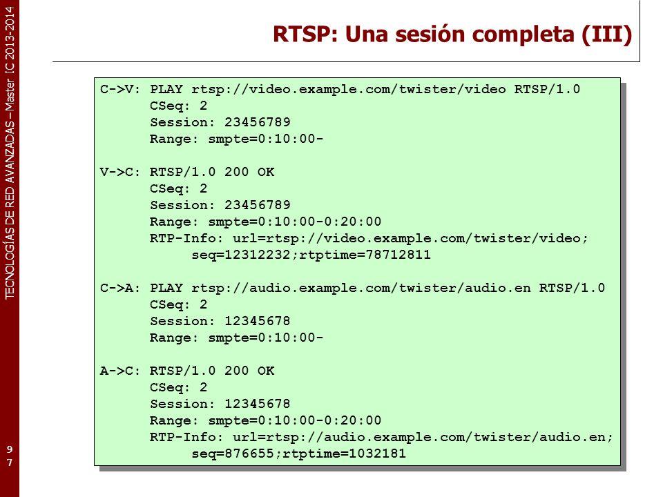 RTSP: Una sesión completa (III)