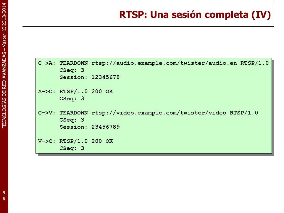 RTSP: Una sesión completa (IV)