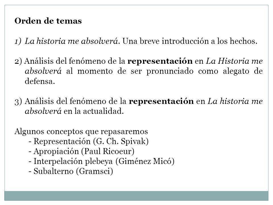 Orden de temas La historia me absolverá. Una breve introducción a los hechos.