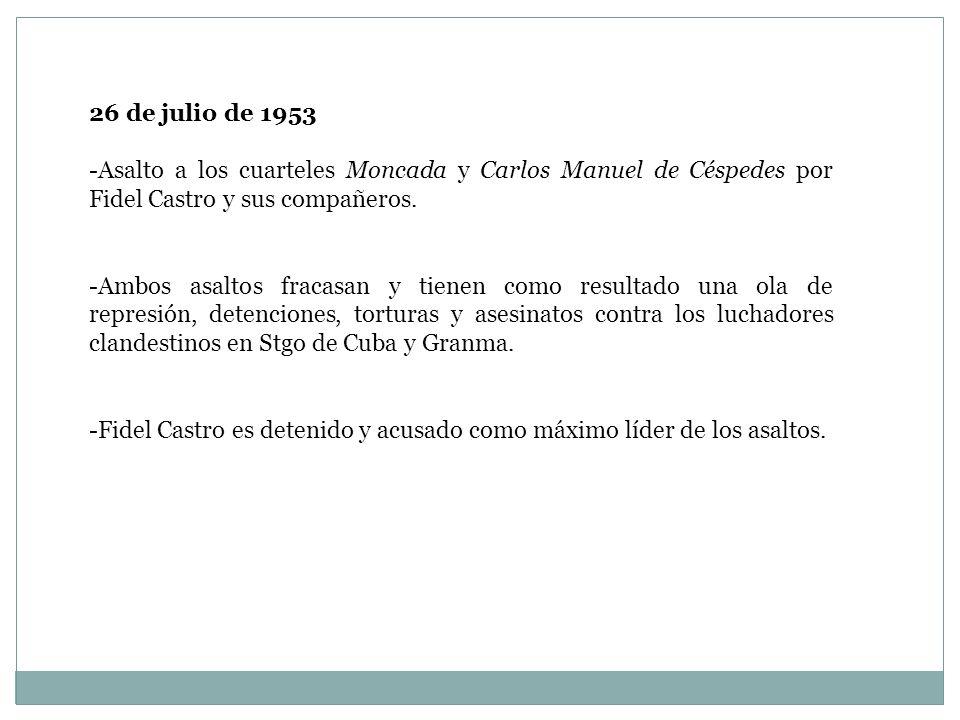 26 de julio de 1953 Asalto a los cuarteles Moncada y Carlos Manuel de Céspedes por Fidel Castro y sus compañeros.