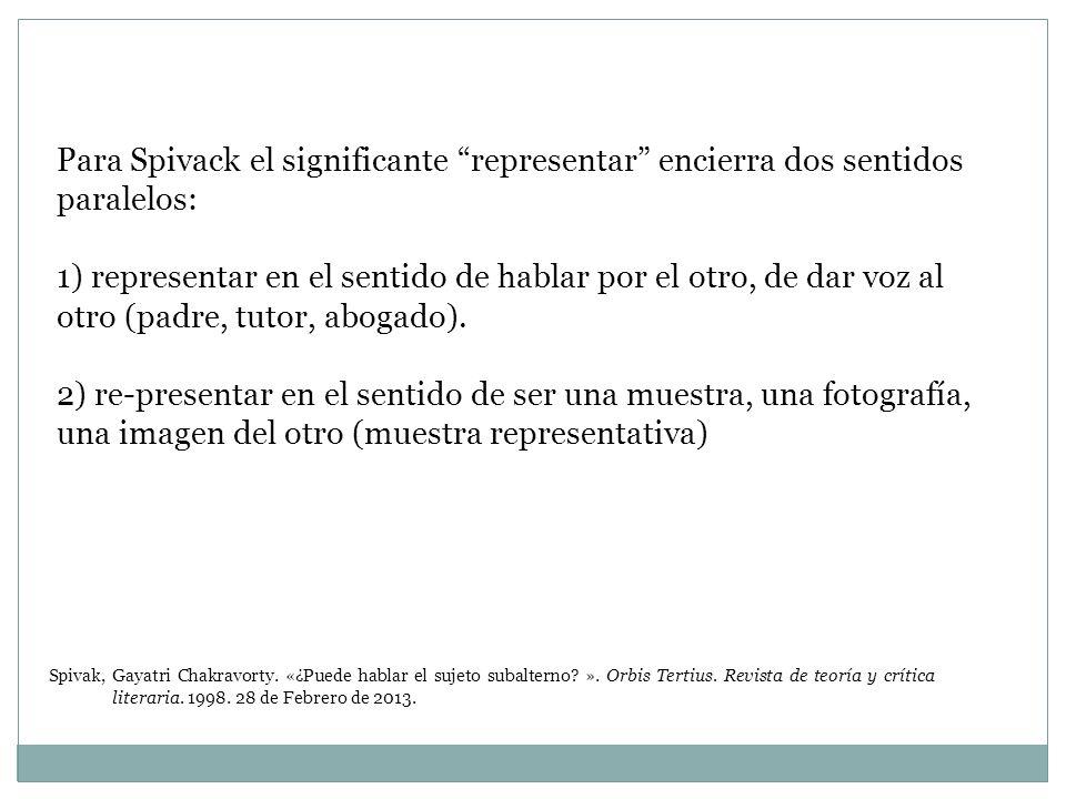 Para Spivack el significante representar encierra dos sentidos paralelos:
