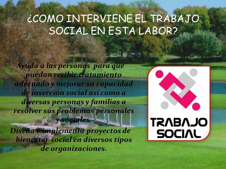 ¿COMO INTERVIENE EL TRABAJO SOCIAL EN ESTA LABOR