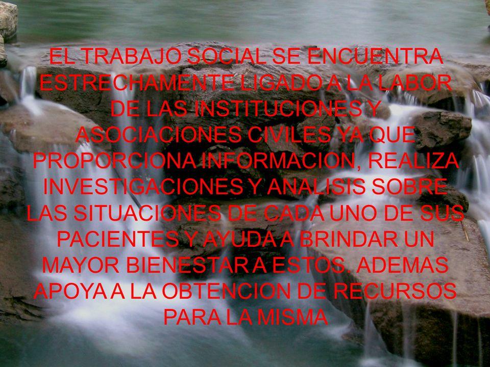 EL TRABAJO SOCIAL SE ENCUENTRA ESTRECHAMENTE LIGADO A LA LABOR DE LAS INSTITUCIONES Y ASOCIACIONES CIVILES YA QUE PROPORCIONA INFORMACION, REALIZA INVESTIGACIONES Y ANALISIS SOBRE LAS SITUACIONES DE CADA UNO DE SUS PACIENTES Y AYUDA A BRINDAR UN MAYOR BIENESTAR A ESTOS.