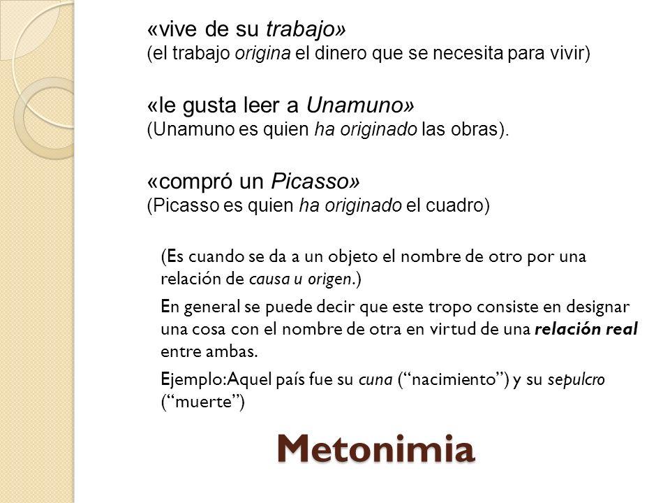 Metonimia «vive de su trabajo» «le gusta leer a Unamuno»