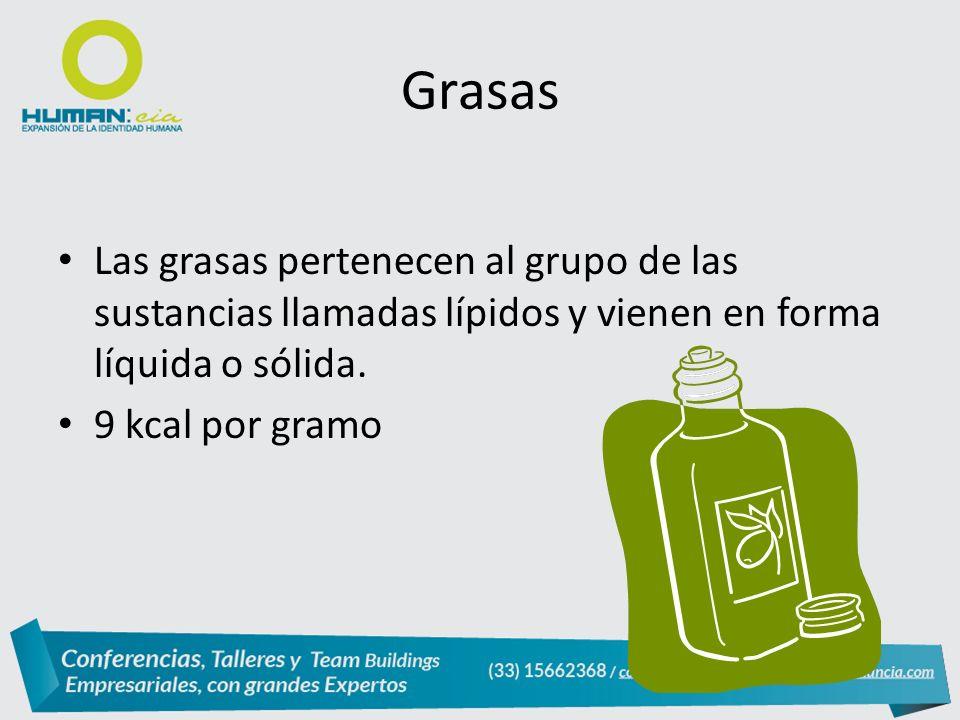 Grasas Las grasas pertenecen al grupo de las sustancias llamadas lípidos y vienen en forma líquida o sólida.