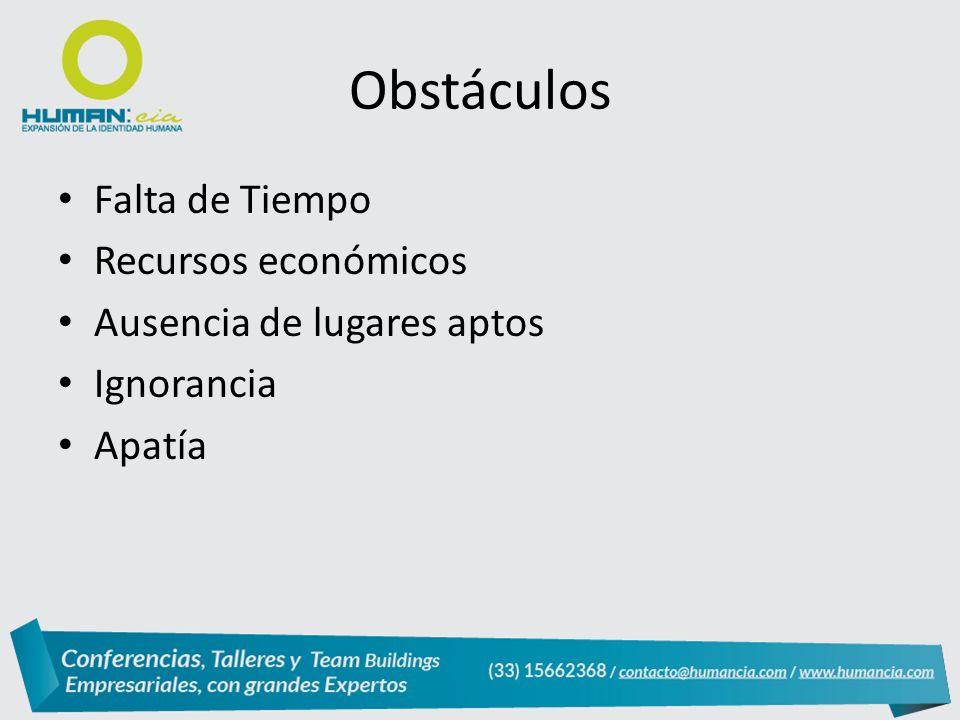 Obstáculos Falta de Tiempo Recursos económicos