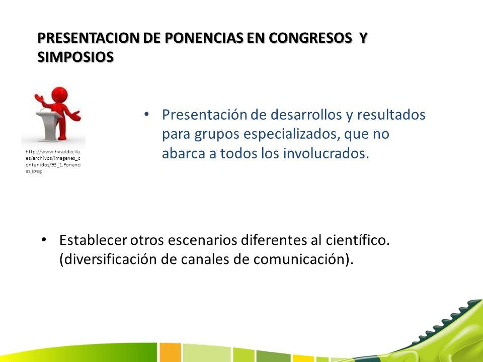 PRESENTACION DE PONENCIAS EN CONGRESOS Y SIMPOSIOS