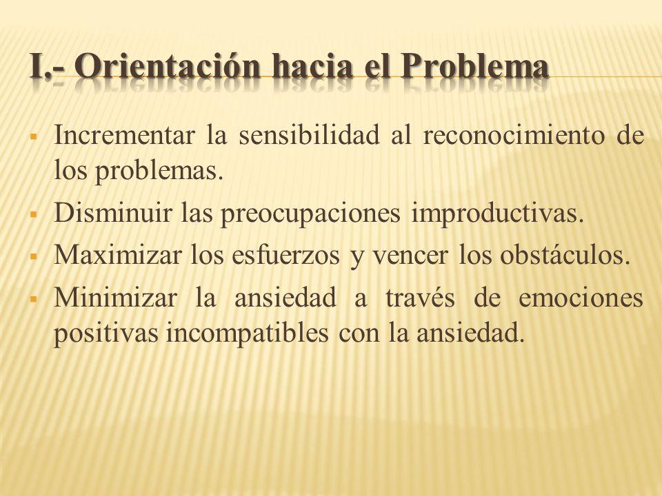 I.- Orientación hacia el Problema