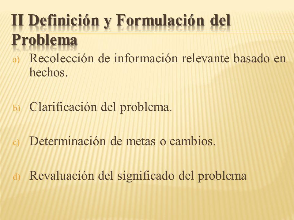 II Definición y Formulación del Problema