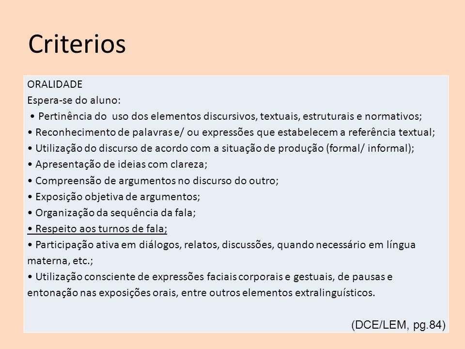 Criterios ORALIDADE Espera-se do aluno:
