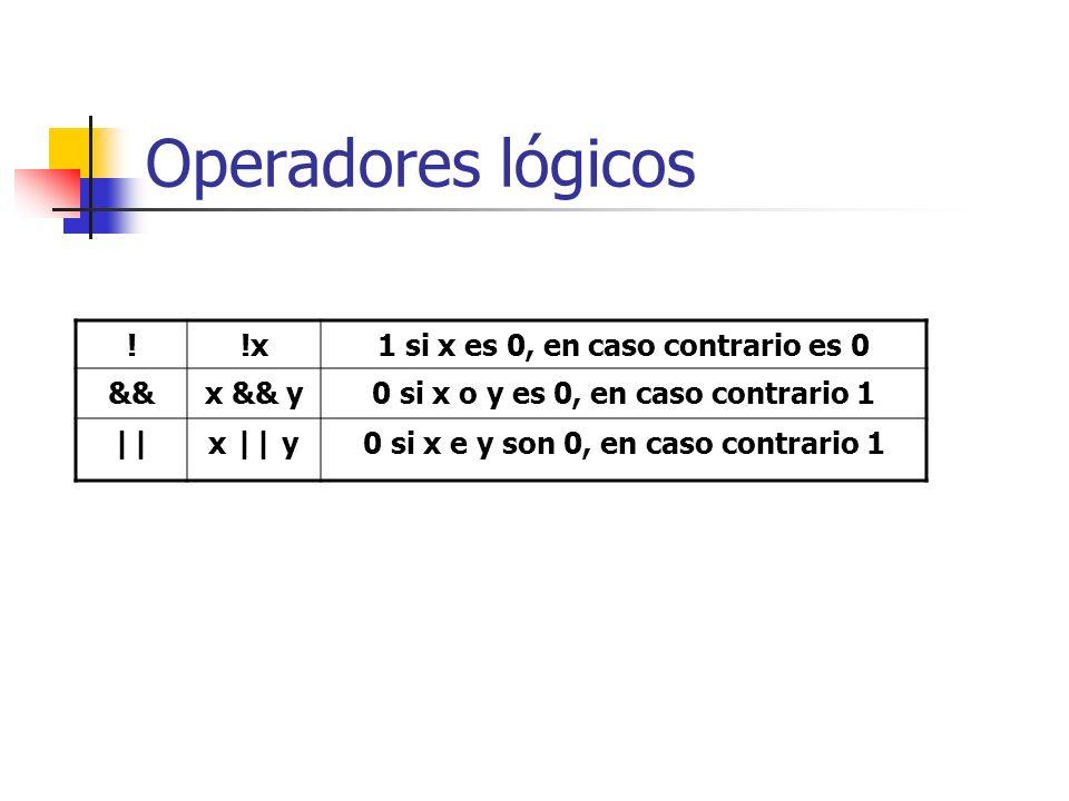 Operadores lógicos ! !x 1 si x es 0, en caso contrario es 0 && x && y