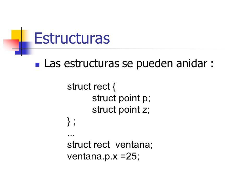 Estructuras Las estructuras se pueden anidar : struct rect {