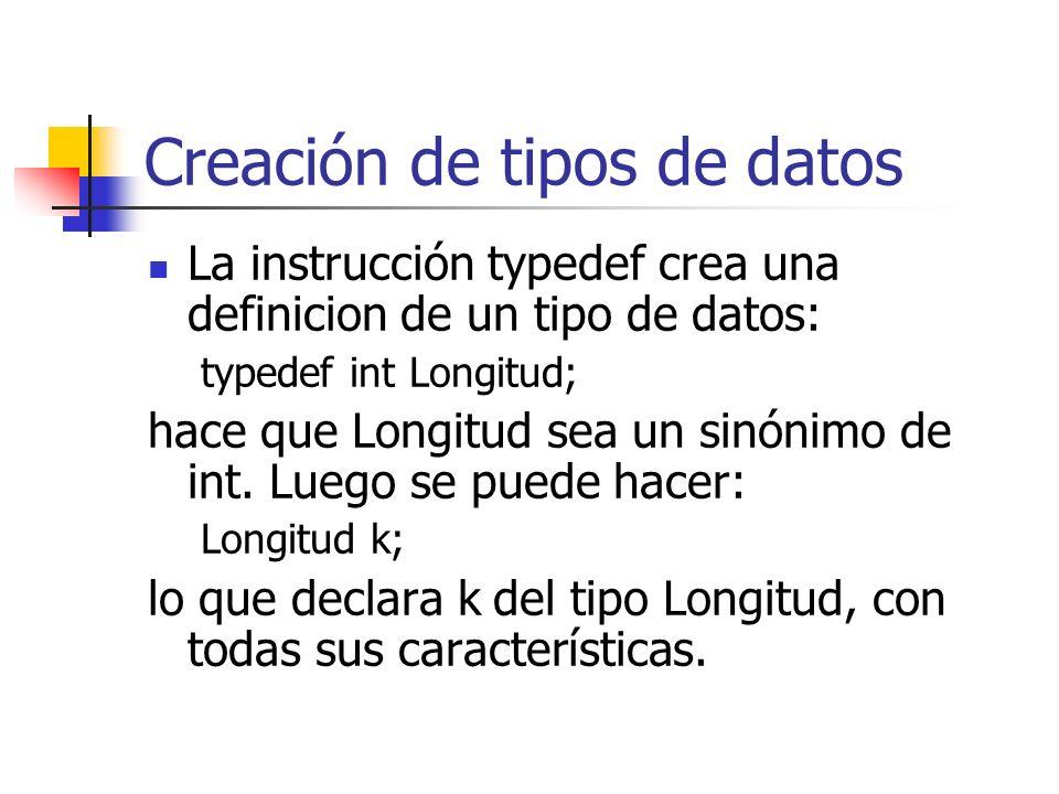 Creación de tipos de datos