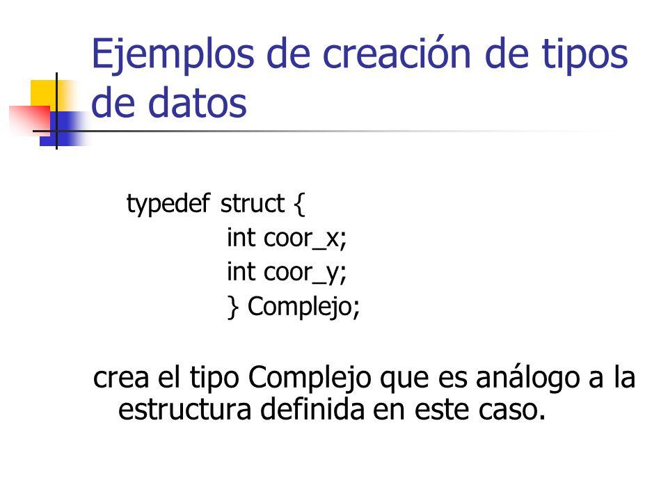 Ejemplos de creación de tipos de datos