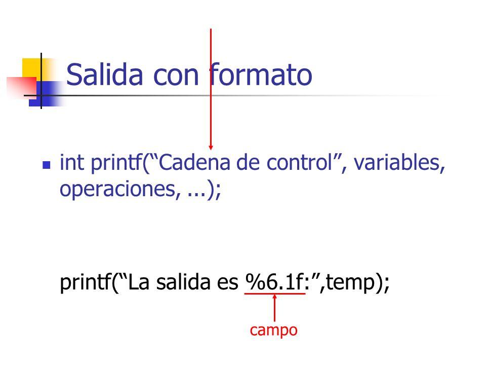 Salida con formato int printf( Cadena de control , variables, operaciones, ...); printf( La salida es %6.1f: ,temp);