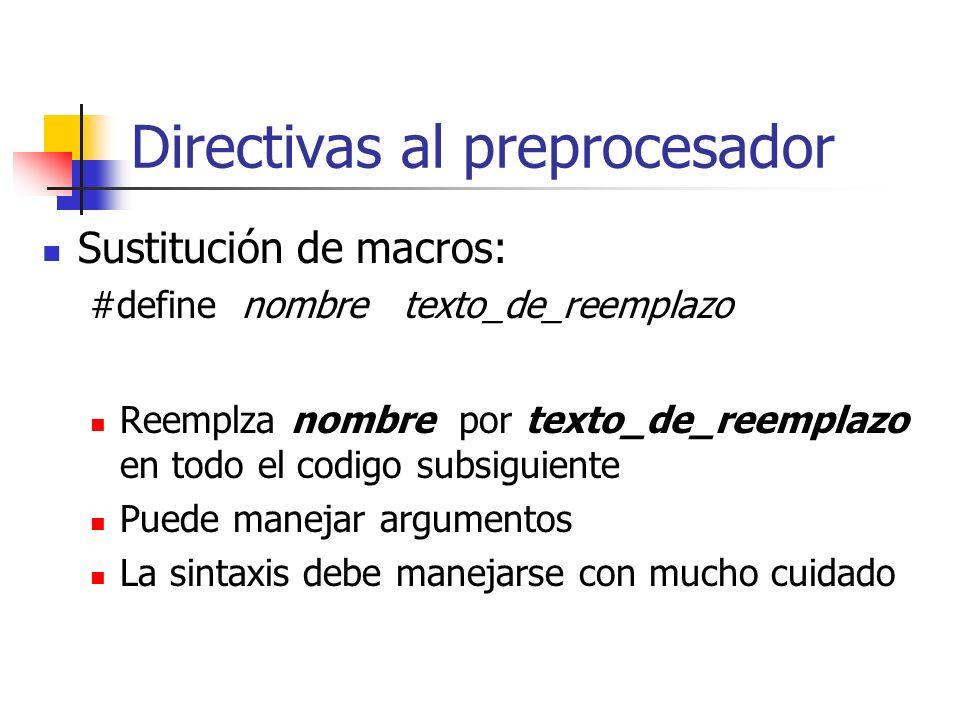 Directivas al preprocesador