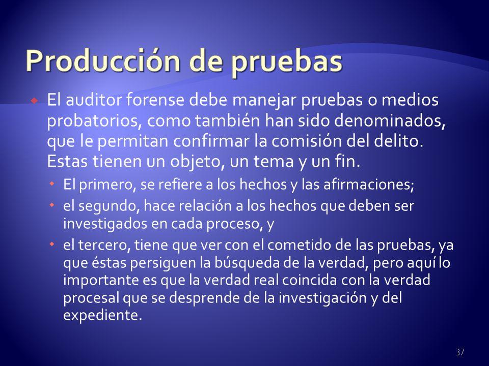 Producción de pruebas