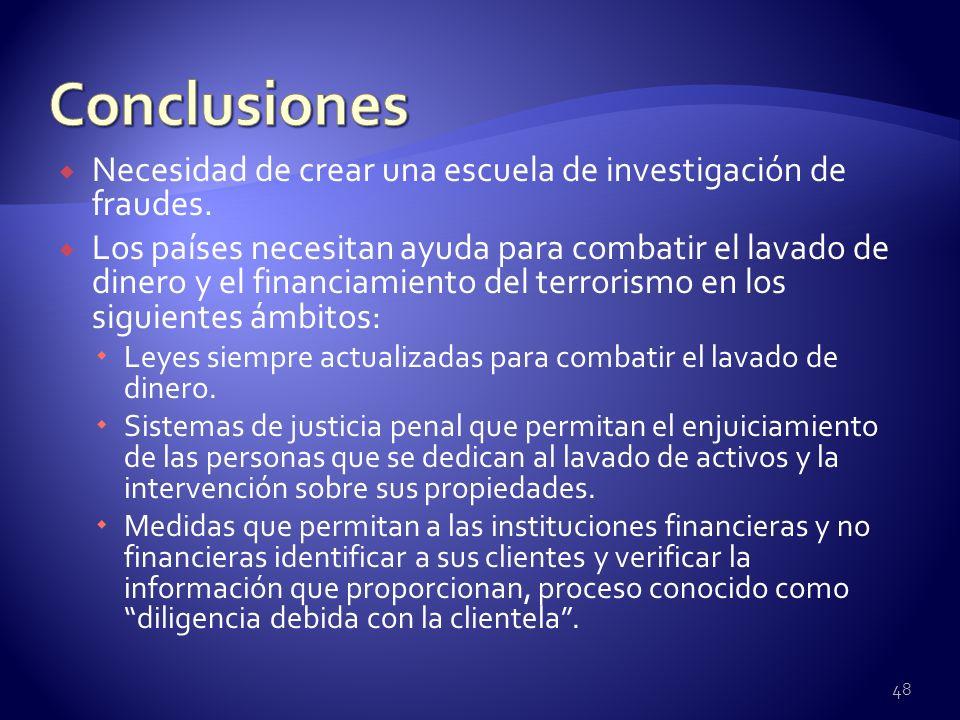 Conclusiones Necesidad de crear una escuela de investigación de fraudes.
