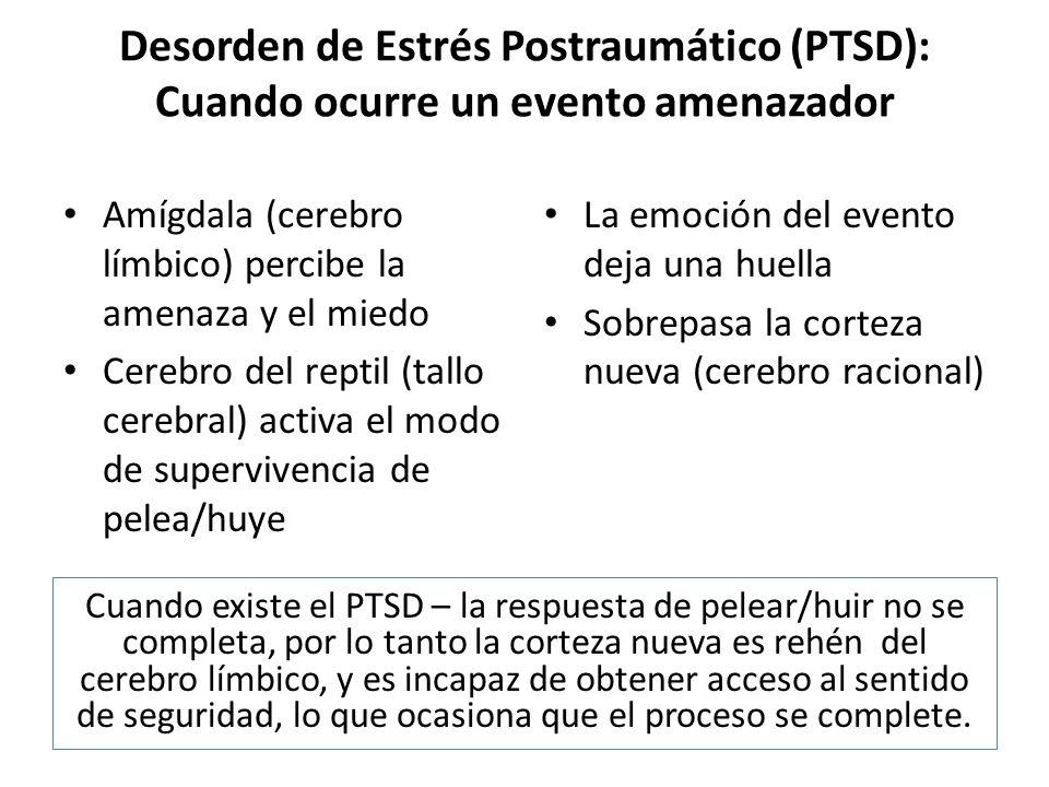 Desorden de Estrés Postraumático (PTSD): Cuando ocurre un evento amenazador