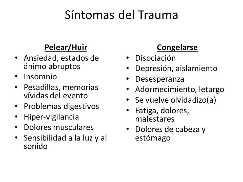 Síntomas del Trauma Pelear/Huir Ansiedad, estados de ánimo abruptos