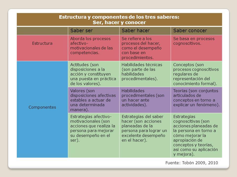 Estructura y componentes de los tres saberes: