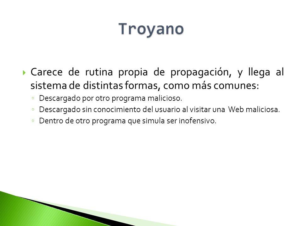 Troyano Carece de rutina propia de propagación, y llega al sistema de distintas formas, como más comunes: