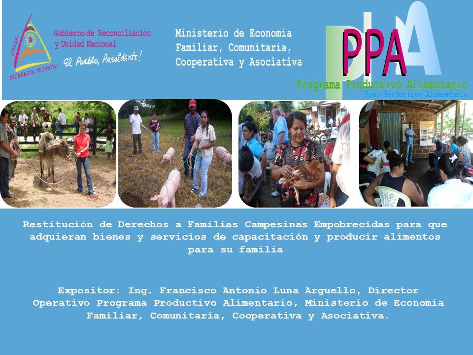 Restitución de Derechos a Familias Campesinas Empobrecidas para que adquieran bienes y servicios de capacitación y producir alimentos para su familia