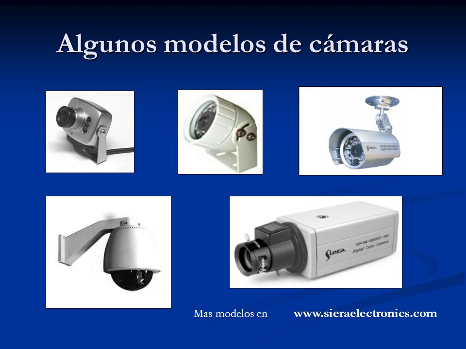 Algunos modelos de cámaras