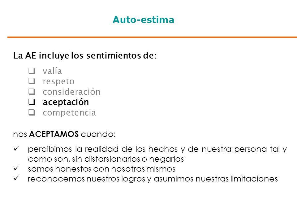 Auto-estima La AE incluye los sentimientos de: valía respeto