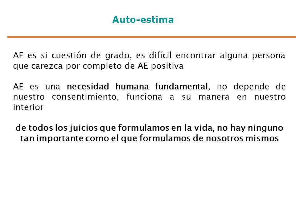 Auto-estima AE es si cuestión de grado, es difícil encontrar alguna persona que carezca por completo de AE positiva.