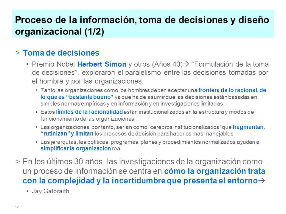 Proceso de la información, toma de decisiones y diseño organizacional (1/2)