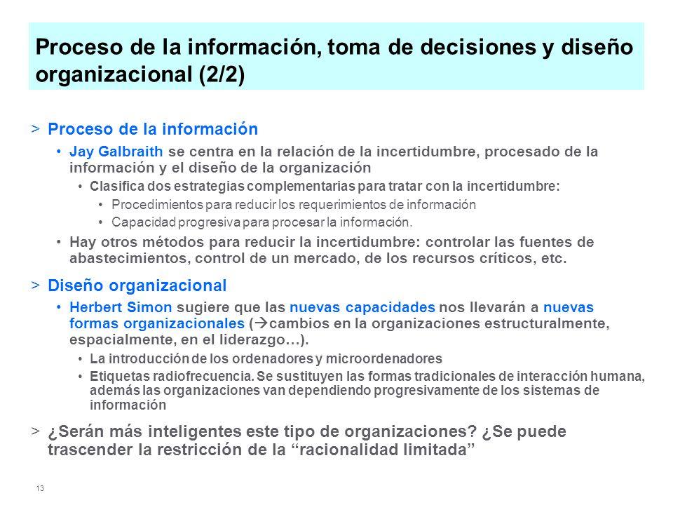 Proceso de la información, toma de decisiones y diseño organizacional (2/2)