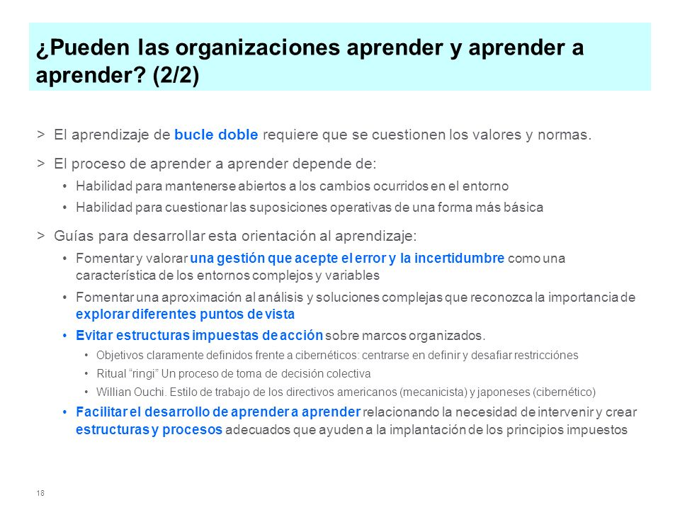 ¿Pueden las organizaciones aprender y aprender a aprender (2/2)