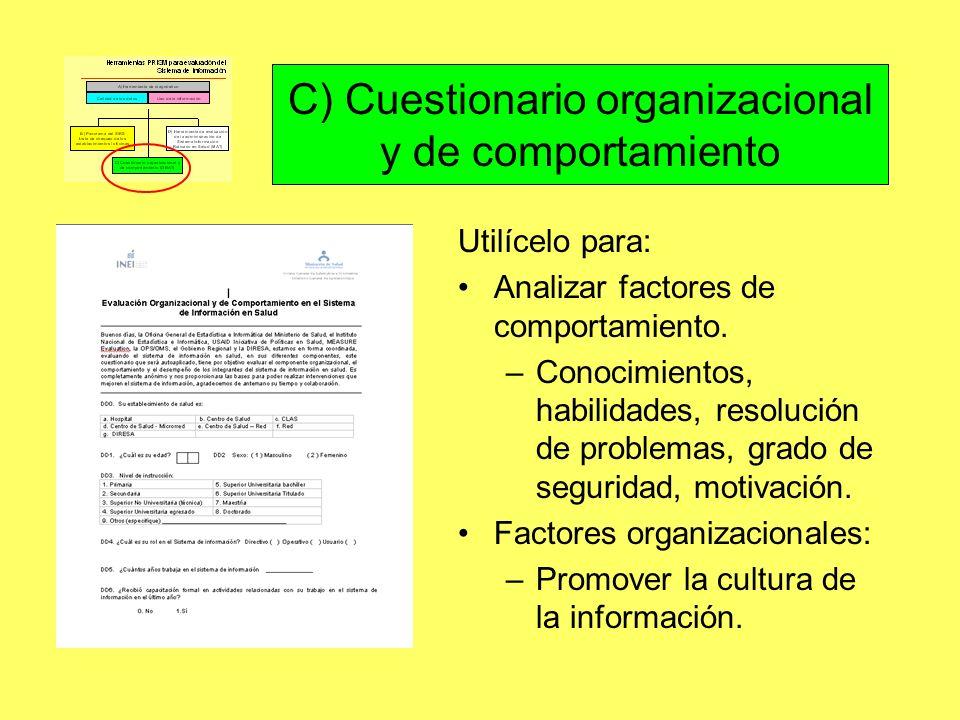 C) Cuestionario organizacional y de comportamiento