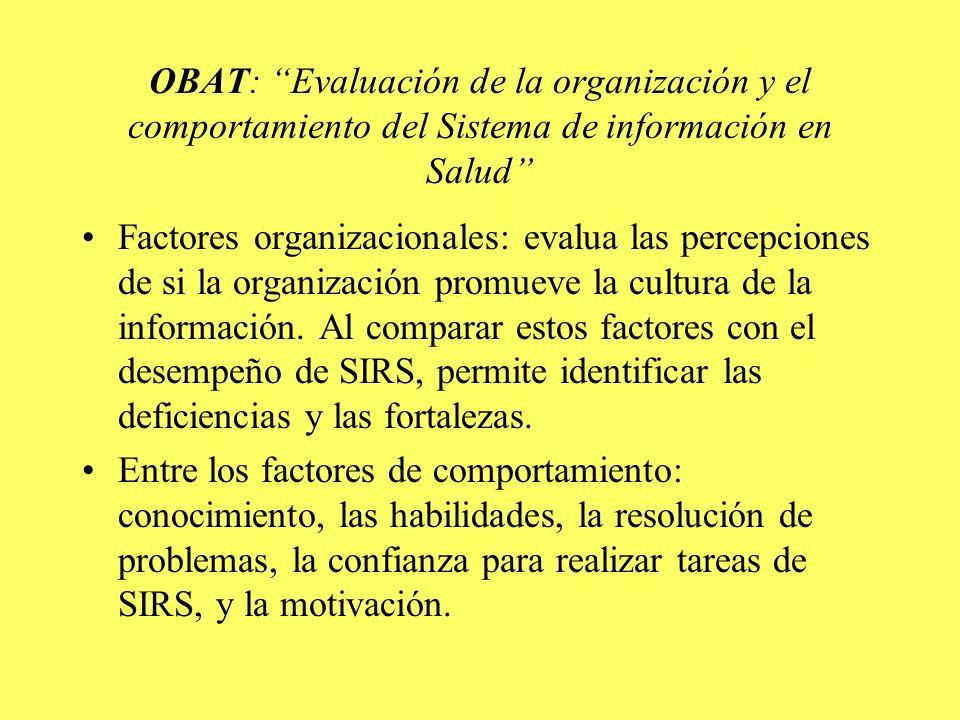 OBAT: Evaluación de la organización y el comportamiento del Sistema de información en Salud