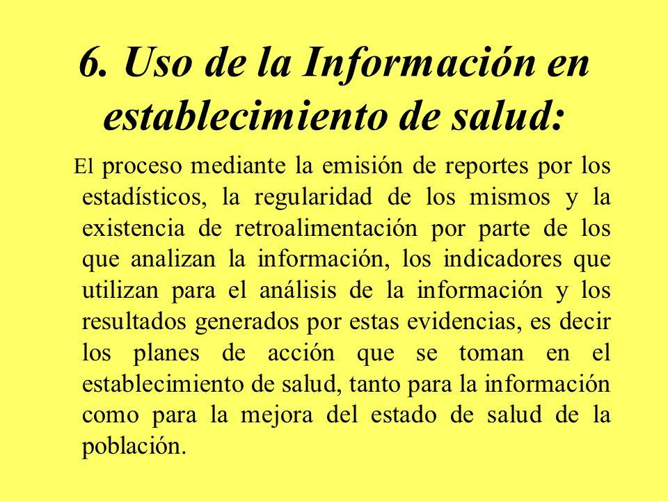 6. Uso de la Información en establecimiento de salud: