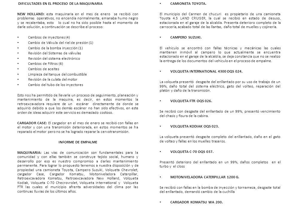 DIFICULTADES EN EL PROCESO DE LA MAQUINARIA
