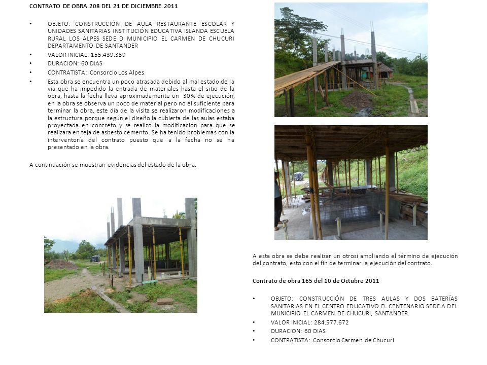 CONTRATO DE OBRA 208 DEL 21 DE DICIEMBRE 2011