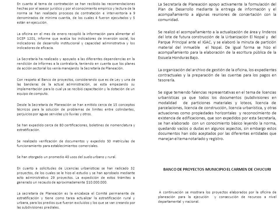 BANCO DE PROYECTOS MUNICIPIO EL CARMEN DE CHUCURI