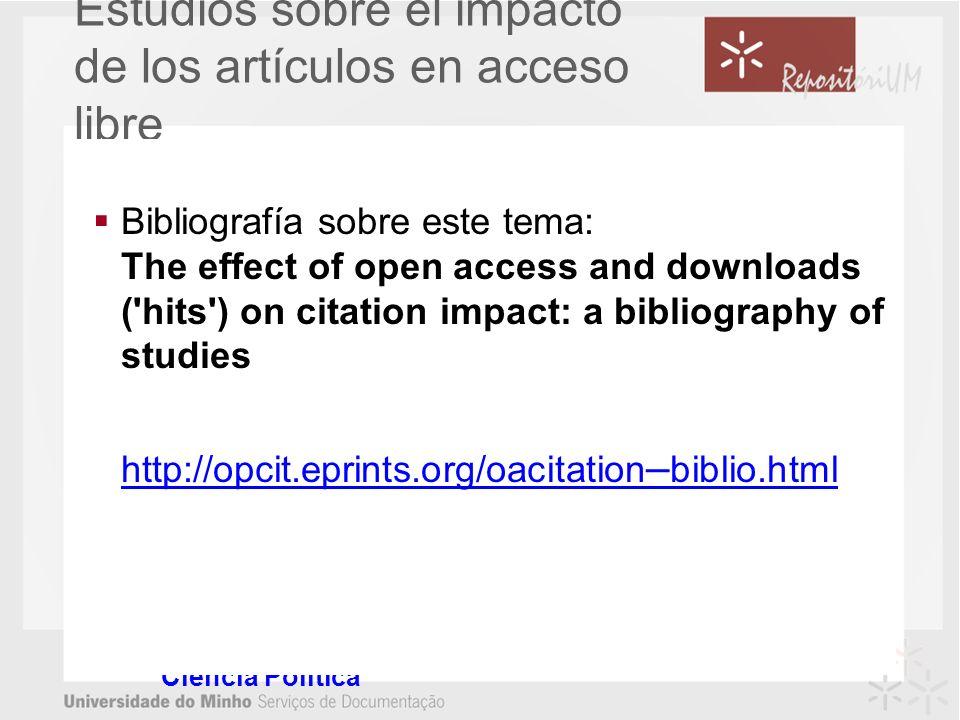 Estudios sobre el impacto de los artículos en acceso libre