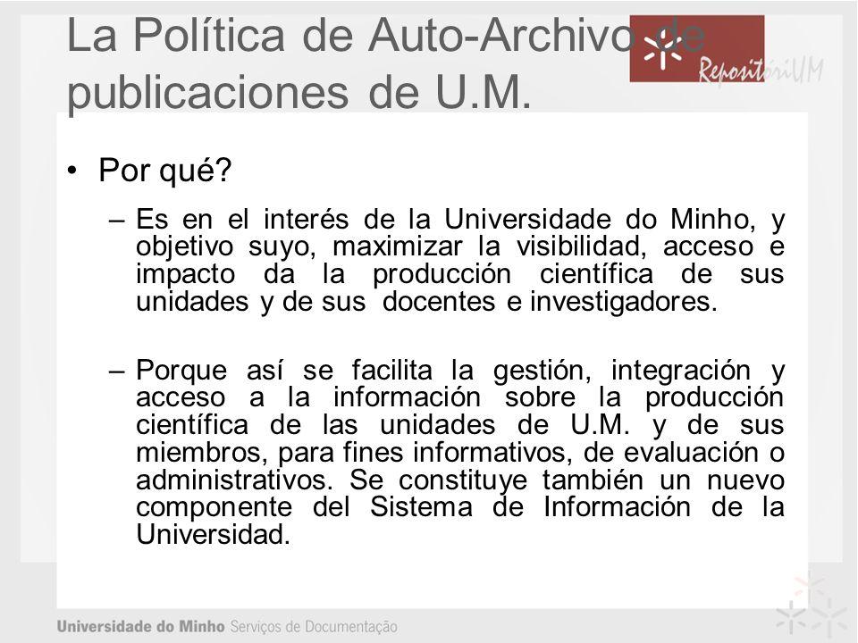 La Política de Auto-Archivo de publicaciones de U.M.