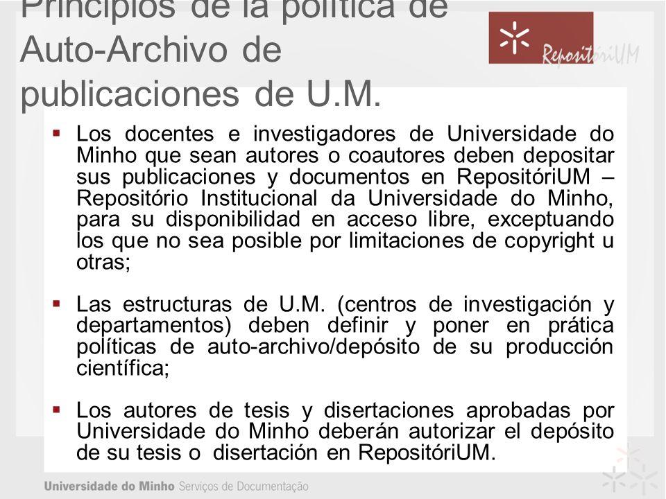 Principios de la política de Auto-Archivo de publicaciones de U.M.