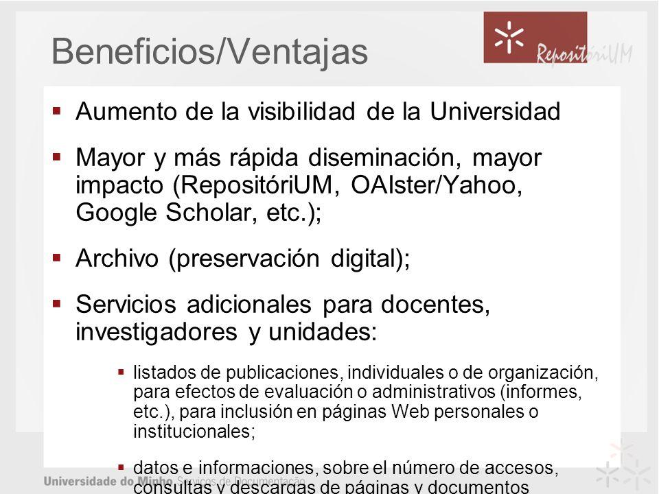 Beneficios/Ventajas Aumento de la visibilidad de la Universidad