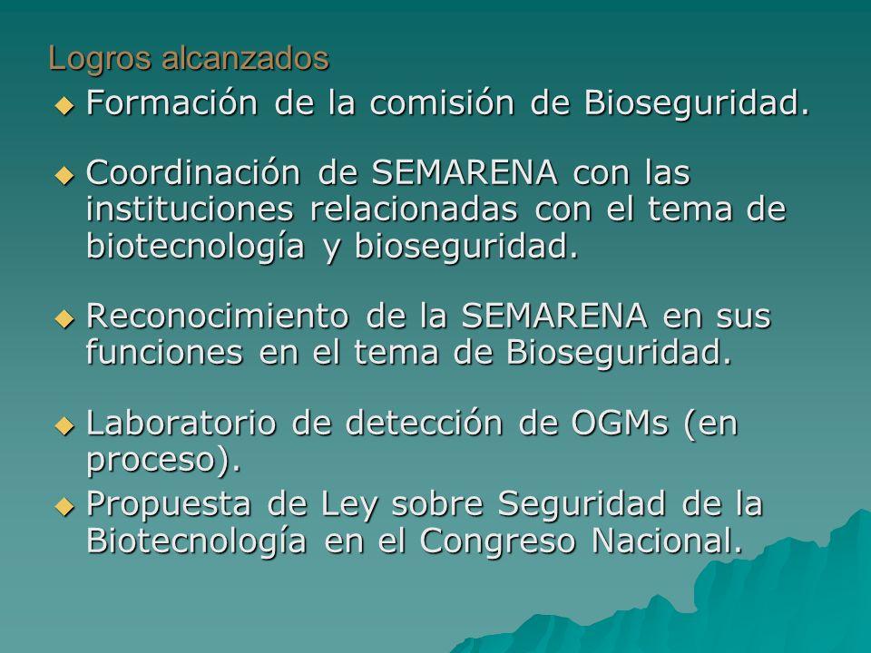Logros alcanzados Formación de la comisión de Bioseguridad.
