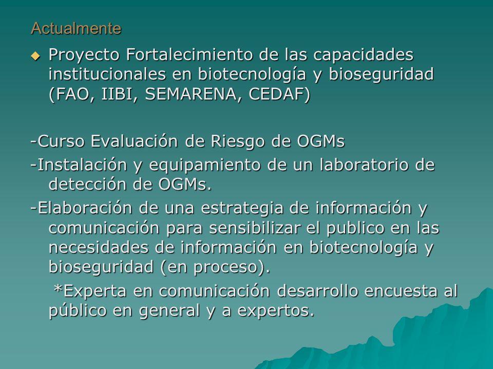 Actualmente Proyecto Fortalecimiento de las capacidades institucionales en biotecnología y bioseguridad (FAO, IIBI, SEMARENA, CEDAF)