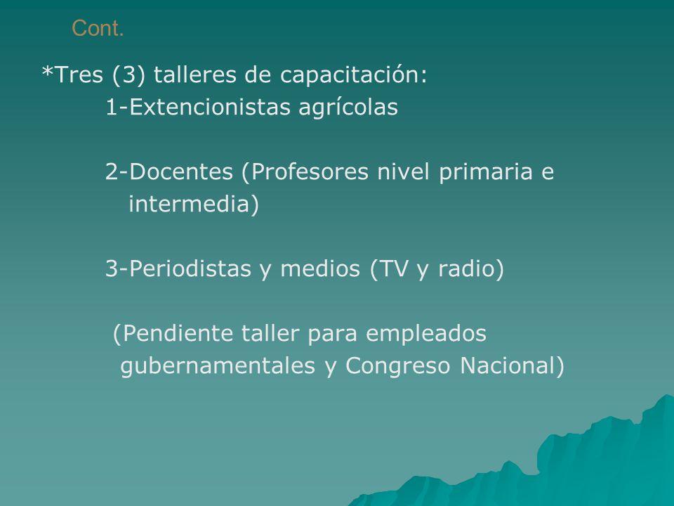Cont. *Tres (3) talleres de capacitación: 1-Extencionistas agrícolas. 2-Docentes (Profesores nivel primaria e.